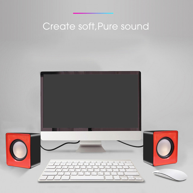 Kebidumei Mini Music Loudspeaker USB 2.0 Stereo Speakers for PC Laptop Notebook Computer Desktop Home Theater Party 5