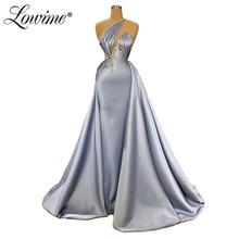 Bir omuz akşam elbise Vestidos zarif Dubai arap düğün parti elbiseler orta doğu balo elbisesi Robe De Soiree 2020 Couture