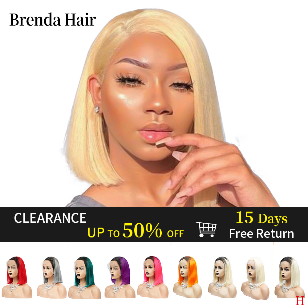 Brenda Hair 13x6 Lace Front Human Hair Wigs For Black Women 613 Short Bob 150% Density Lace Wigs Brazilian Hair Pre Plucked