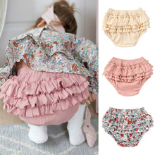 Shorts Knitted Baby-Girl High-Waist Ruffle Toddler Print Cake-Layered Soft 0-3Y Flower-Printed/solid-Color