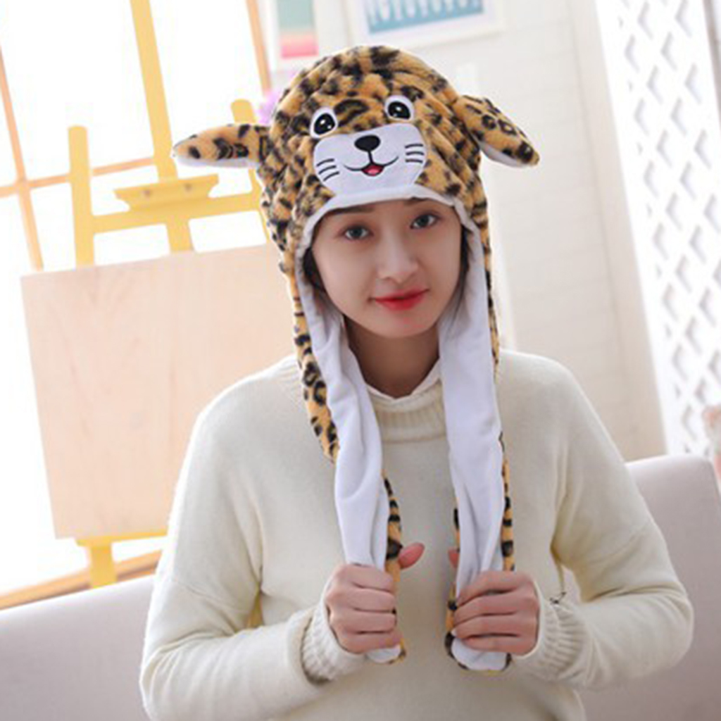 Fashion Leopard Hat Ear Will Move When You Hold The Leg Funny Plush Hat Cap Tiger Style Cute Girl Warm Hat Winter Gift