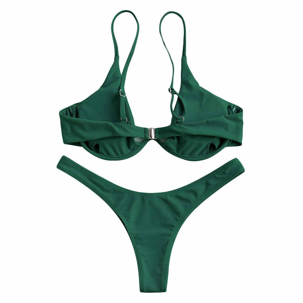 Zaful Merek Dijual Hot Multicolor Wanita Bikini Set Solid Pantai Baju Renang Thong Swimsuit Push Up Brasil Femme Baju Renang