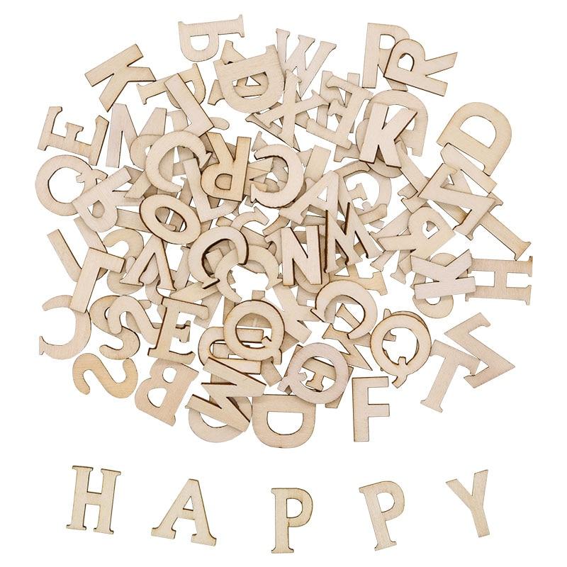 100pcs Mixed Wooden Shapes Letters Alphabet Wood Embellishments Kids Crafts