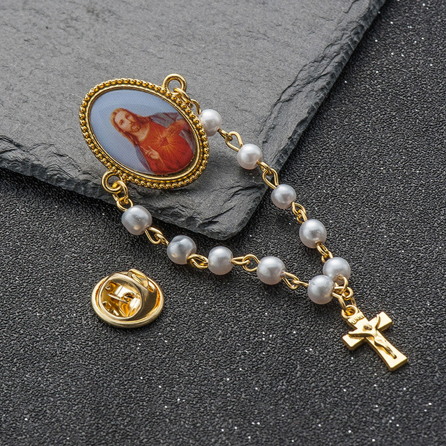 5 pcs/lot New pearl beads pendant brooches for women Jesus christian virgin mary cross long lapel pin broches jewelry stochastic 2