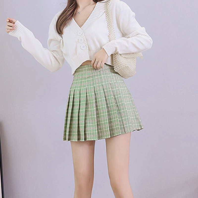 Mini Skirts Pleated A-Line Plaid Girls Slim Korean-Style Sweet High-Waist Preppy Women title=
