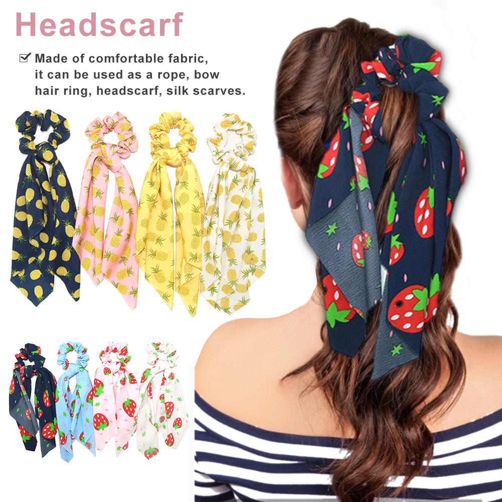 8pcs Fashion Summer Ponytail Scarf Elastic Hair Rope For Women Hair Bow Ties Scrunchies Hair Bands Flower Print Ribbon Hairbands Braid Maintenance     - title=