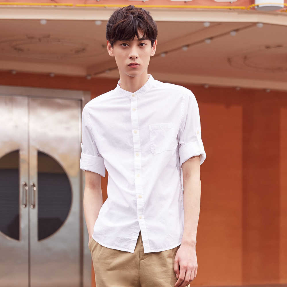Metersbonwe 브랜드 남성 캐주얼 셔츠 봄 가을 남성 슬림 긴팔 셔츠 regular Cotton Male Teenager tops