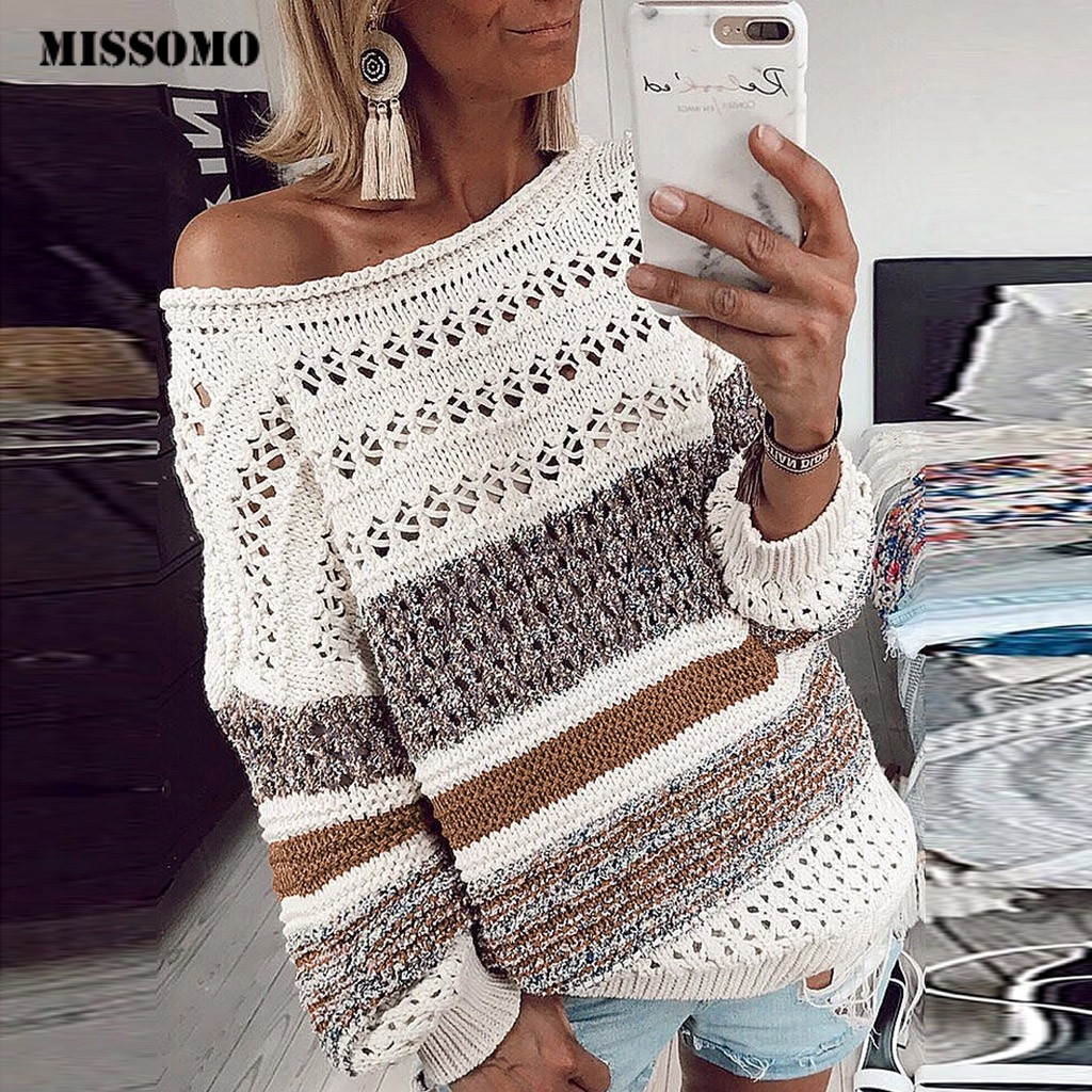 MISSOMO Pullover Sweater Jumper Long-Sleeve Winter Knitted Hollow-Out Stripe Femme O-Neck title=