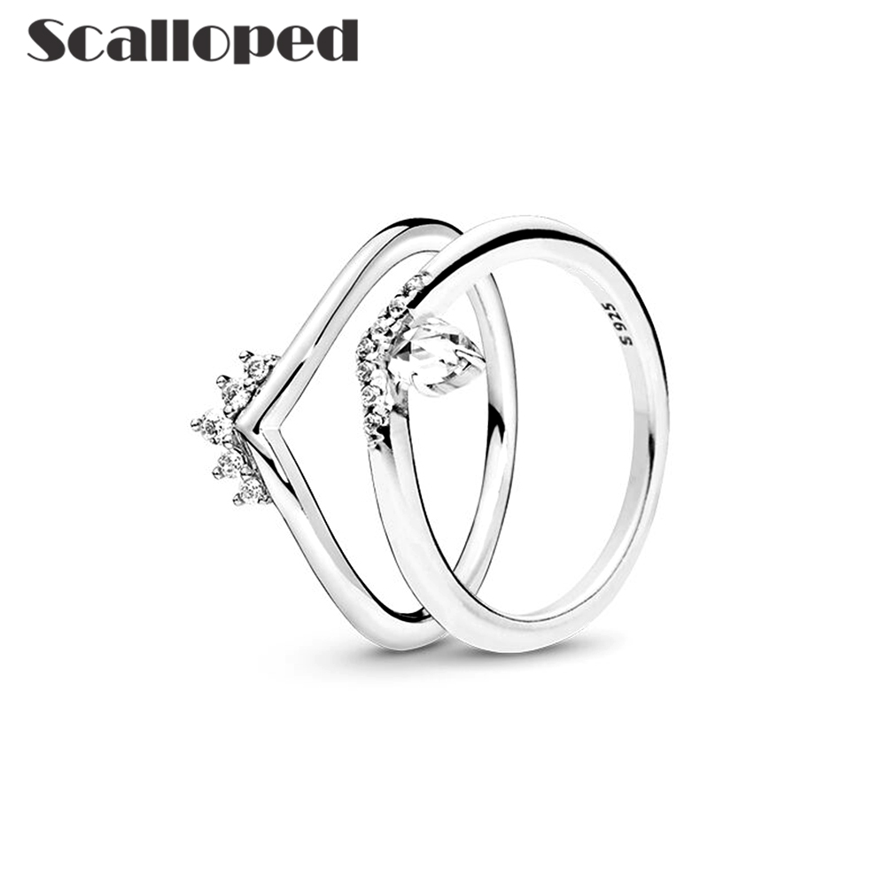 SCALLOPED European Princess Crown Wedding Rings Women 2020 New Promotion Clear CZ Lady Engagement Party Jewelry Dropshipping