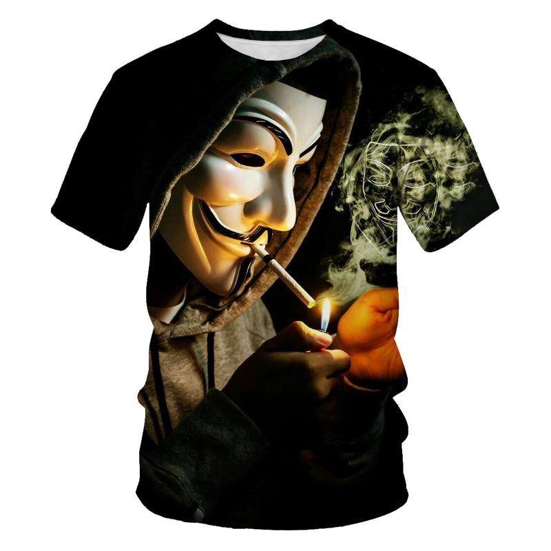 V palavra vendetta 3d impressão moda nova camisa masculina hip-hop palhaço casual o-pescoço camisa de manga curta masculina roupas de rua