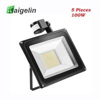 5 pces 100 w pir sensor de movimento infravermelho luz de inundação para iluminação ao ar livre 220 v 240 v 11000lm pir sensor infravermelho holofote lâmpada led