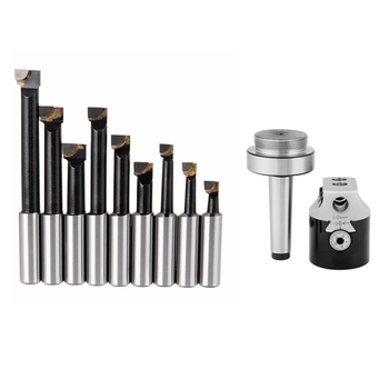 2 Set Durable Hard Alloy Shank Boring Bar Set Carbide Tipped Bars 12Mm for 2 Inch 50Mm Boring Head for Lathe Milling Black & Sil