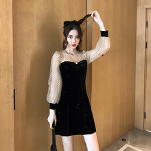 #5105 Polka Dot Mesh Spliced Velvet Dress Women Sexy V Neck A-line Dress Korean Retro Woman Mini Dress Long Sleeve Spring Autumn