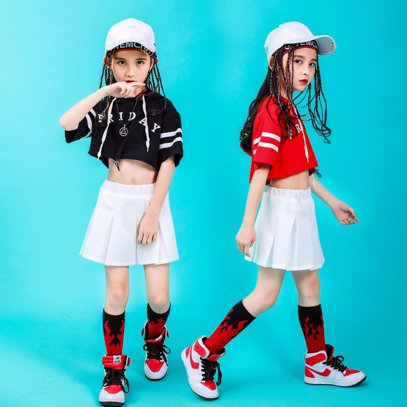 Children Hip Hop Clothing Hoodie Sweatshirt Top Crop White Mini Skirt For Girls Jazz Dance Costume Ballroom Dancing Clothes Wear