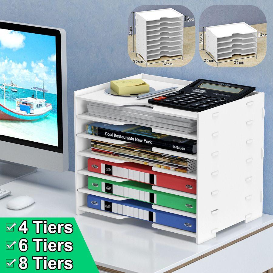 Document File Holder 4/6/8 Tiers Desktop Storage Rack Organizer Office Stationery Holder With Sliding Drawer For School Office