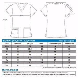 Image 2 - Hennar נשים לשפשף למעלה 100% הדפסת כותנה מדים V צוואר קצר שרוול XXS 3XL חולים קליני scrubScrubs למעלה