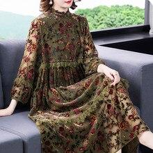 Outono das mulheres do vintage babados lanterna manga velour impresso vestido de flor, mulher solta cintura alta renda retalhos vestidos de veludo