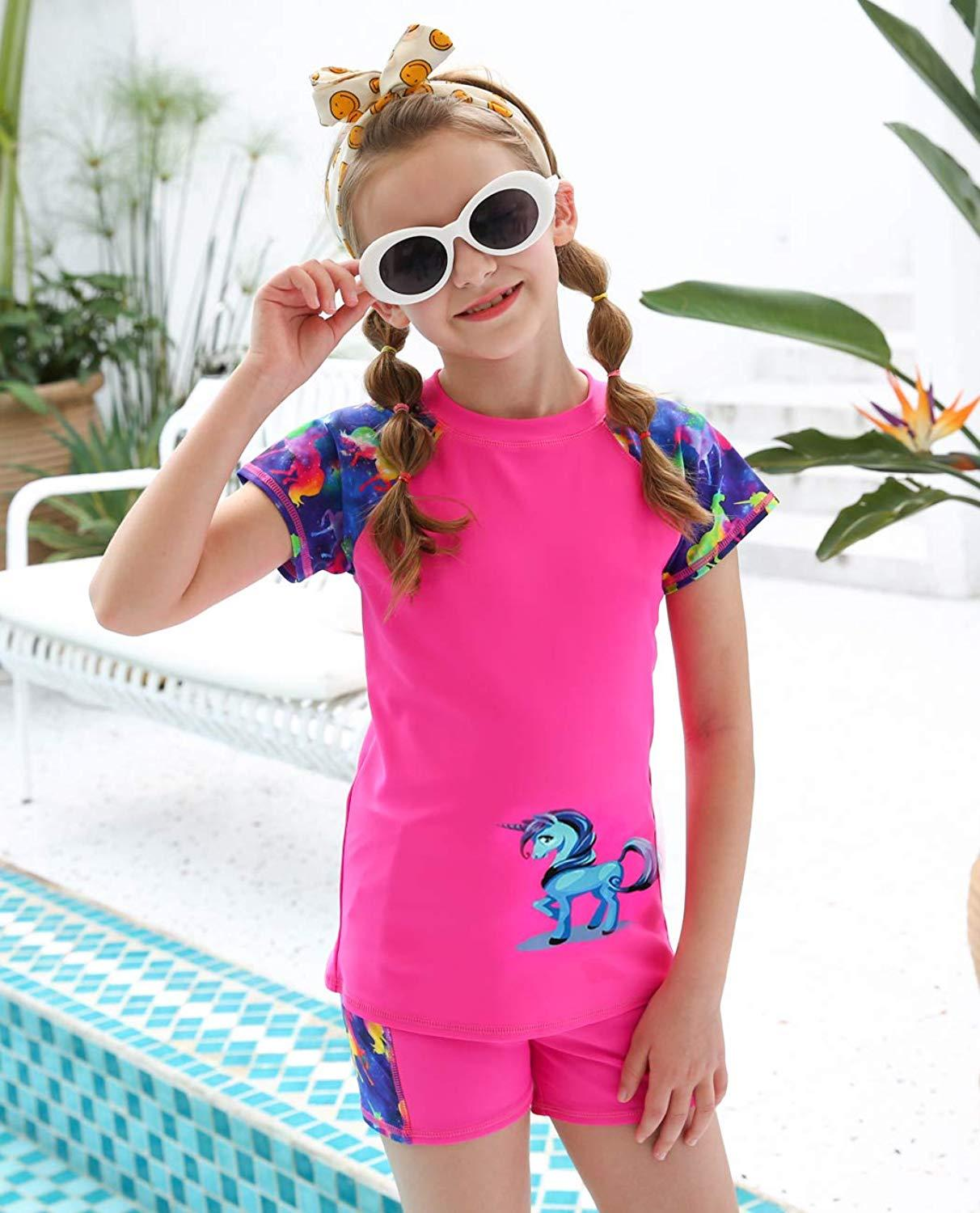 MAICO Kids Two Pieces  Swimsuits Set Short Sleeves Swimwear Boys Girls Bathing Suit Rash Guard Sets UPF 50+ Swimming Beach Wear