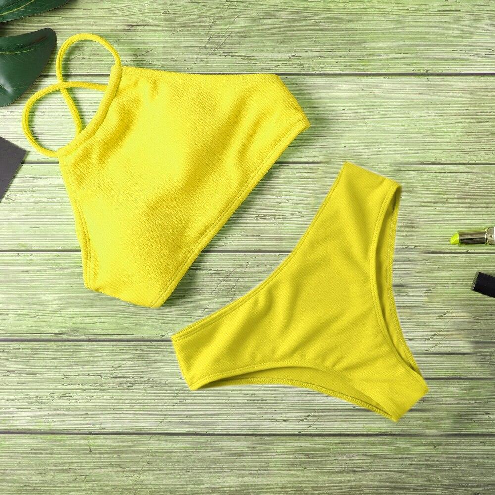 Sexy Removable Breast Pad Bikini Set Women Solid Bandage Swimsuit Bathing Suit New  Bikinis Swimwear Summer Beachwear Biquini