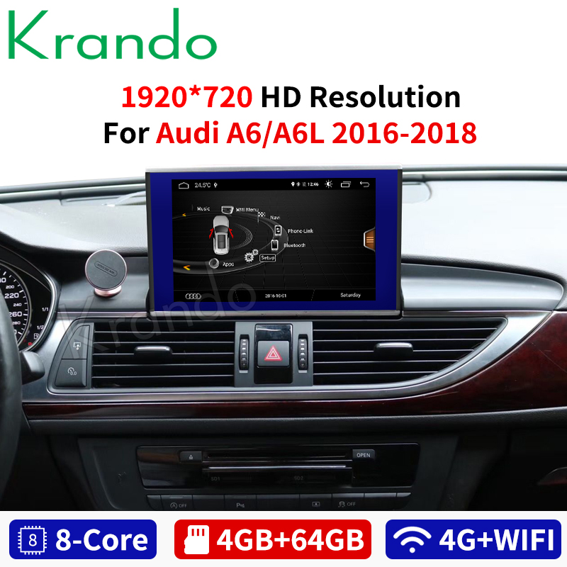 Krando Android 8.1 for <font><b>Audi</b></font> <font><b>A6</b></font> A6L 2012-2018 8.4''IPS Blue RAY 4+64G car radio dvd <font><b>navigation</b></font> multimedia player <font><b>gps</b></font> with bt image