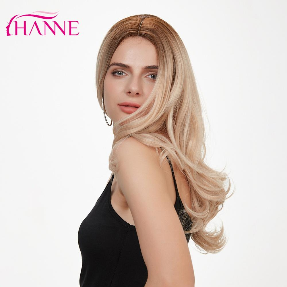 HANNE Ombre Ash Blonde Synthetic Wigs High Temperature Fiber Party Or Cosplay Ombre Wigs For Black/White Women
