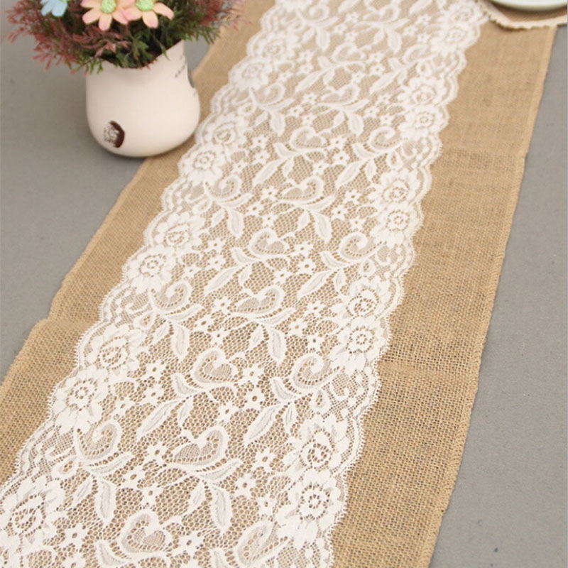 Natural Burlap Jute Hessian Table Runner Cloth Wedding Party Decor Lace Burlap Table Runner High Quality Table Flag