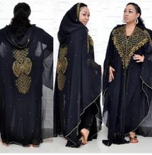 Luxury African Dresses for Women 2019 New African Clothes Dashiki Diamond Abaya Dubai Robe Evening Long Muslim Dress Hood Cape(China)