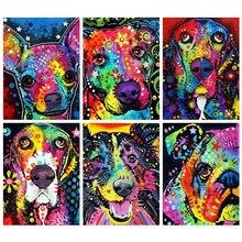 Huacan Diamant Kit de peinture Animal salon décoration murale mosaïque chien broderie Artisanat Diamant Diamant Art