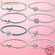 TOP vente 6 Styles 925 en argent Sterling coeur serpent chaîne Bracelet pour les femmes ajustement Original Pamura perles breloque bijoux cadeau