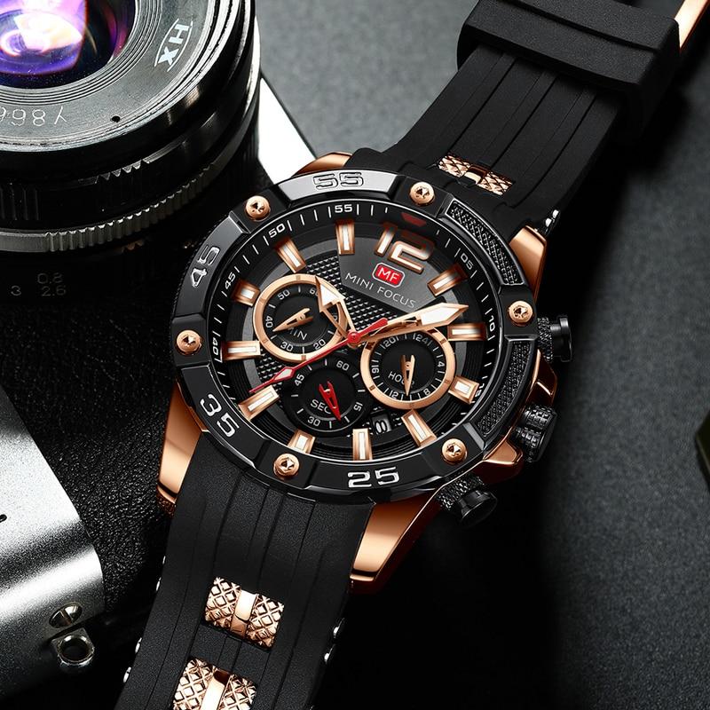 Relojes para Hombre de oro 2019 Relojes para Hombre marca de lujo reloj de los hombres de silicona cronógrafo deportes hombres Relogio reloj - 2