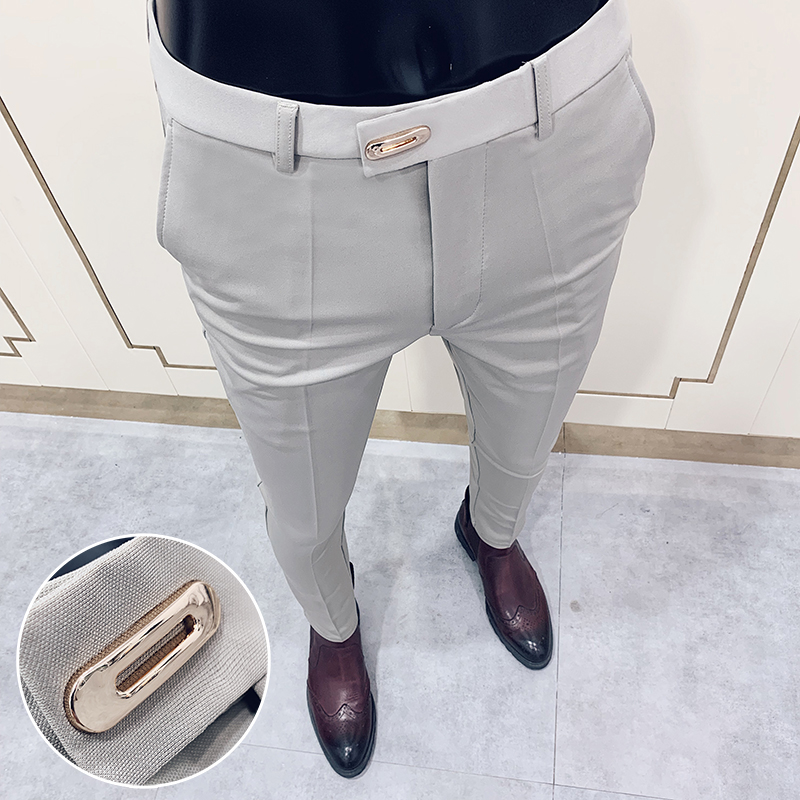 2020 Spring Formal Men's Suit Pants Fashion Casual Slim Business Dress Pants Male Wedding Party Work Trousers Plus Size 28-36