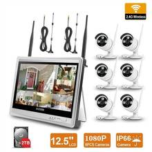 H.265 Wireless Surveillance Camera System 1080P Security System CCTV Wifi NVR Kit with 12.5inch LCD and HD Outdoor Waterproof
