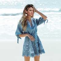 Simplee Estate scollo a v embrodiery denim delle donne del vestito Elegante dei telai corti blu dei jeans abiti Casual vacanza vestito dalla spiaggia delle signore