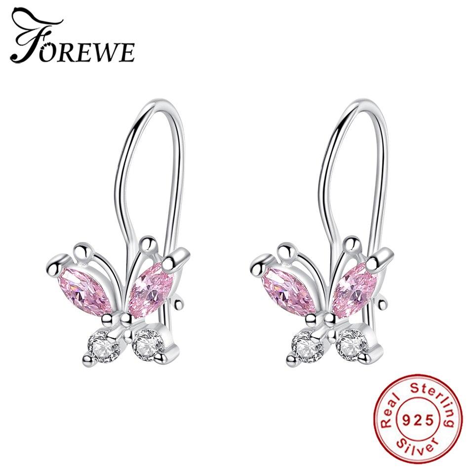 Kids Jewelry Butterfly Stud Earrings For Girls Sterling Silver C.Z