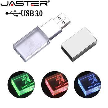 JASTER usb 3.0 Peugeot crystal  metal USB flash drive pendrive 4GB 8GB 16GB 32GB 64GB 128GB External Storage memory stick u disk