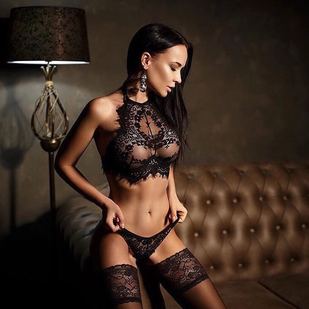 Sexy Black Eyelash Lace Bra Set Women Ladies Erotic Lingerie Underwear Set Erotic Uniform Vest Top Bra And G String