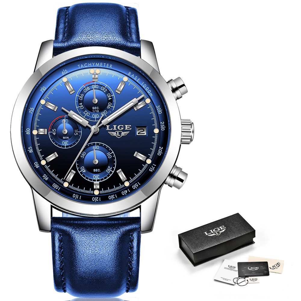2019 LIGE nouvelle mode hommes montres analogique Quartz montres 30M étanche chronographe sport Date en cuir montres Montre Homme 5