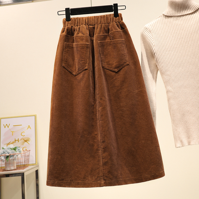 Lucyever Plus Size Women Corduroy Skirt Autumn Winter Vintage Harajuku Loose A-line Female Long Skirt High Waist Lady Faldas 5xl 5