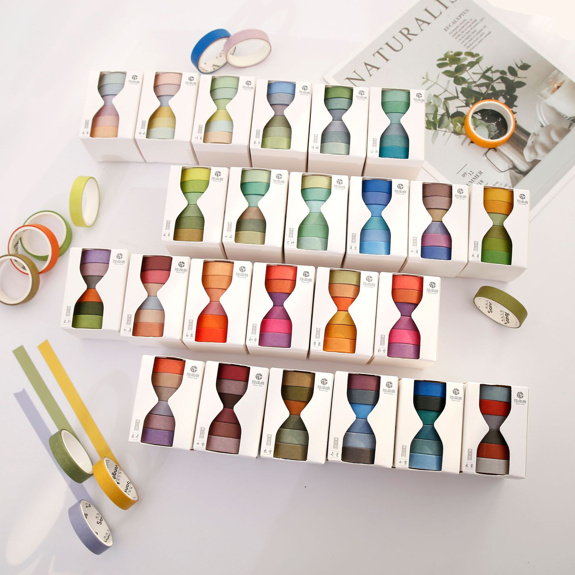 6 pcs/pack Solar Terms Pure Color Journal Washi Tape Set DIY Scrapbooking Sticker Label Masking Tape School Office Supply