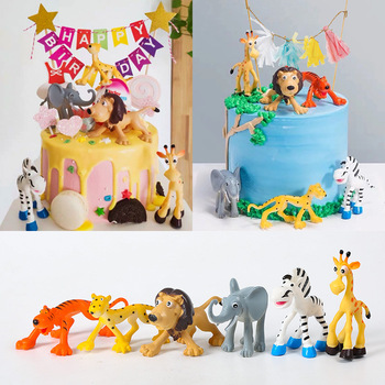 6pcs/lot Cartoon Animal Giraffe Lion Elephant Leopard Cake Toppers for Kid`s Birthday Baby Shower Cake Deco Doll Zoo Theme Party 30pcs golden glitter unicorn horn theme cupcake toppers kid s party baby shower decors
