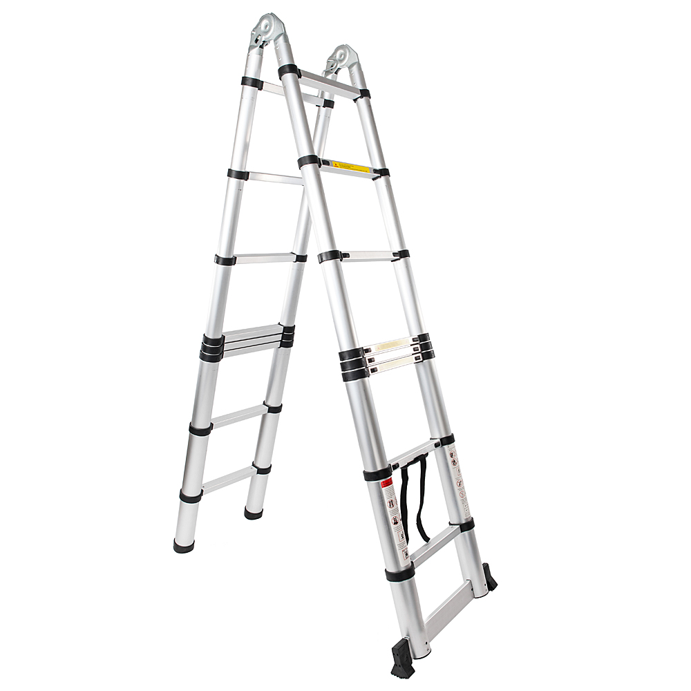 16-Step Multi-function Folding Dual Joints Aluminum Stretchable Ladder Black Silver Double-sided Joint Contraction