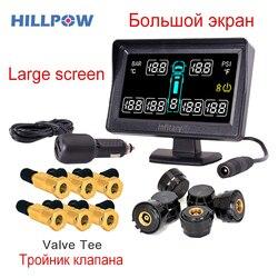 Alarm samochodowy car styling TPMS do ciężarówki z 6 czujniki zewnętrzne wsparcie 6 koła ciśnienia w oponach LCD monitor systemu dobrej jakości w Systemy monitorowania ciśnienia w oponach od Samochody i motocykle na