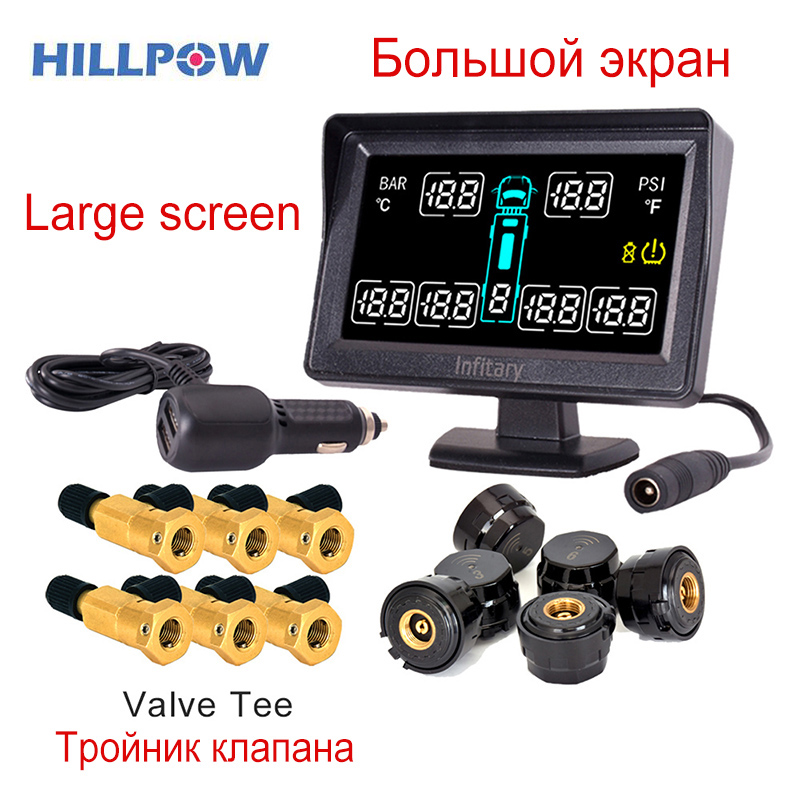 Car Alarm Car Styling TPMS For Truck With 6 External Sensors Support 6 Wheels Tire Pressure LCD Monitor System  Good Quality