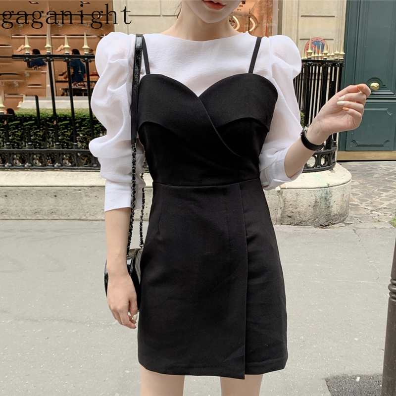 Gaganight Vintage New Fashion Women White Elegant Pull Sleeve Shirt Black Mini Short Sexy Dress Office Lady Spring Summer Chic