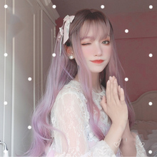 MANWEI 70CM Long Curly Wavy Berry pink Ombre Bangs Cute Party Synthetic Hair Cosplay Wig