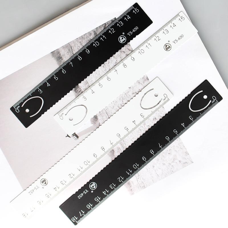 JIANWU 1pcs High Quality Steel Ruler & Metal Ruler Metal Bookmarks  Ruler For Kids  School Supplies Drawing Supplies