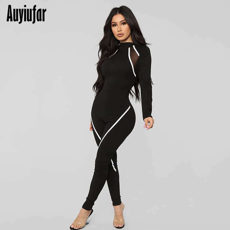 Auyiufar Sporty Workout Skinny Women Jumpsuit Mesh Patchwork Striped Basic Playsuit Zipper Long Sleeve Black Fashion Jumpsuits in Jumpsuits from Women 39 s Clothing