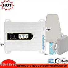 Impulsionador móvel tri banda repetidor de sinal 900 1800 2100 gsm repetidor tri faixa amplificador alc/mgc celular impulsionador de sinal 2g 3g 4g