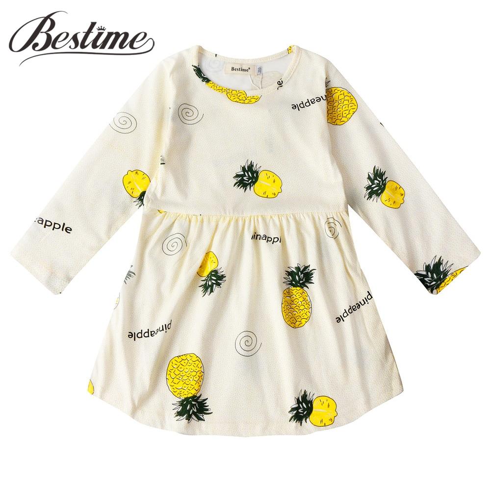 2019 Spring Girl Dress Casual Cartoon Children Dress Cotton Long Sleeve Kids Dresses