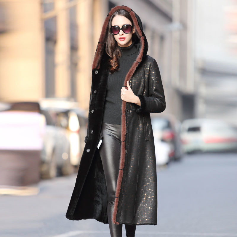 Faced Double Real Fur Coat Winter Coat Women Luxury Natural Wool Coat Female Mink Fur Collar Real Leather Jacket 4xl MY